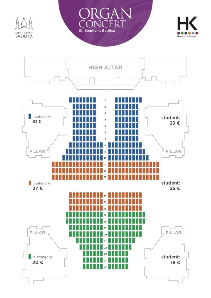 Seating Plan of St Stephen's Basilica Organ Concerts 2019