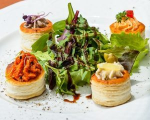 Appetisers in pastry basket